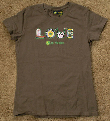 JOHN DEERE Love brown short sleeve size youth M 7-9 t shirt