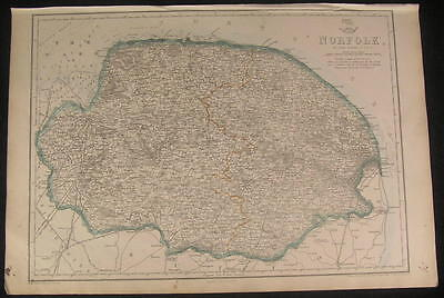Norfolk county England c.1863 old vintage detailed Dower folio map