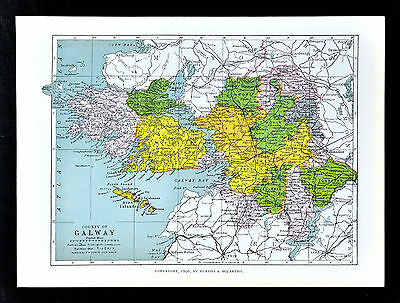 1899 Ireland Map - Galway County - Athenry Loughrea Tuam Aran Islands Dunmore