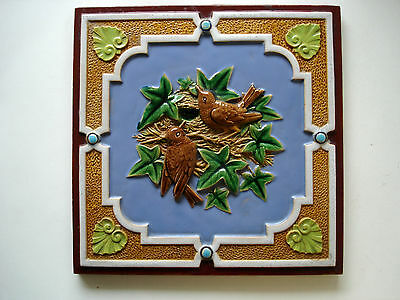 Beautiful Minton Hollins Majolica Tile From 1870. Two Birds At A Nest.