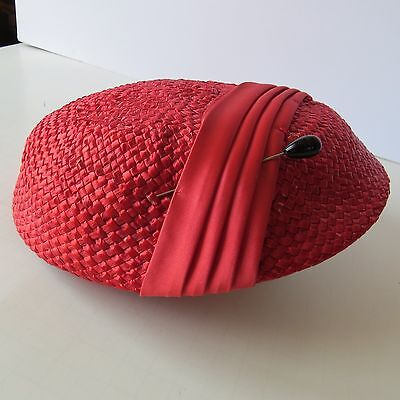 Vintage 1950's Ladies Red Woven Straw Hat with Hat Pin