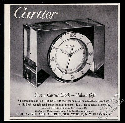 1946 Cartier clock photo vintage Christmas print ad
