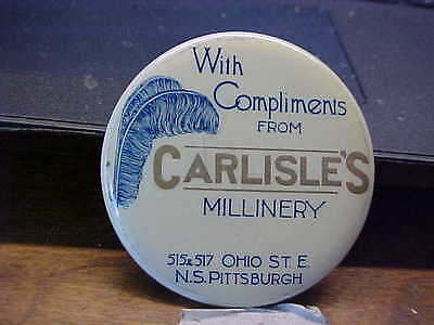PA, Pittsburgh CARLISLES MILLINERY Celluloid Advertising Pocket Mirror