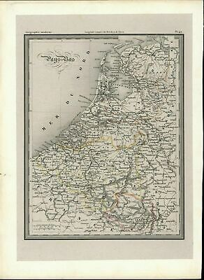 Holland Belgium France Amsterdam Netherlands Brussels c. 1860 scarce old map