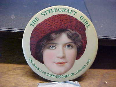 OH Cleveland THE STYLECRAFT GIRL Hat Hats Celluloid Advertising Pocket Mirror