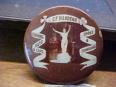 NUDE RISQUE LADY WOMAN Bilodeau Furnishings Celluloid Advertising Pocket Mirror