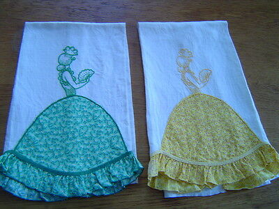 2 Vintage Novelty Linen Kitchen Towels Pretty Lady With Fan