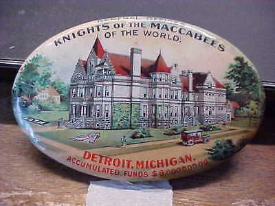 MI Detroit KNIGHTS OF THE MACCABEES Celluloid Advertising Pocket Mirror