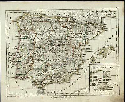 Spain Portugal Gibraltar Madrid Mediterranean Sea c. 1835 scarce old map