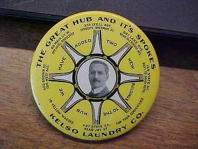 NY Rochester KELSO LAUNDRY Great Hub Spokes Celluloid Advertising Pocket Mirror