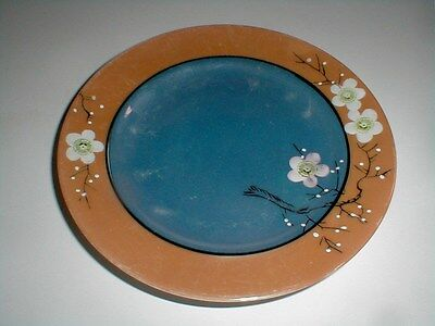 Japanese Luster Lusterware Peach Blue White Cherry Blossom Plate/s-Japan (loc-5)