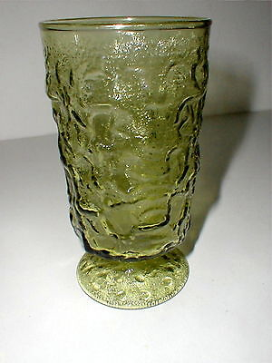 Anchor Hocking Crinkle Glass Green MILANO/LIDO Footed Tumbler