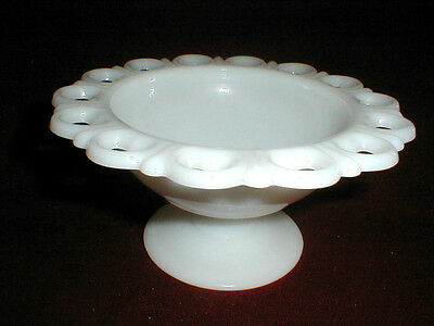 """Anchor Hocking Milk Glass OPEN LACE EDGE/OLD COLONY 7"""" Candy Compote (loc-bas)"""