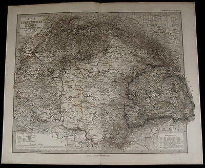 Hungary Slavonia Transylvania Croatia nice 1876 fine old detailed map