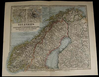 Scandinavia Norway Sweden Finland Stockholm Inset 1885 fine old detailed map