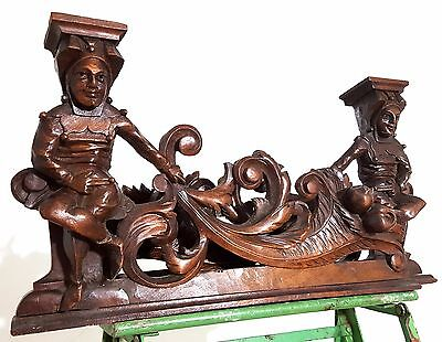 CARVED WOOD PEDIMENT MATCHED PAIR ANTIQUE FRENCH GOTHIC JESTER CARVING CREST a