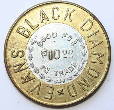 Chicago, Il: Evans Black Diamond Bimetallic Gambling Token