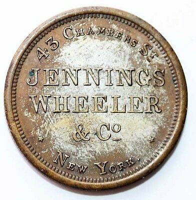 Early New York City Merchant Advertising Token; Jennings Wheeler & Co. Ny