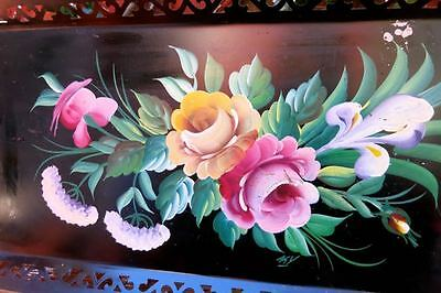Vintage Hand Painted Roses Signed Pilgrim Art Tole Tray Hand Holes Reticulated