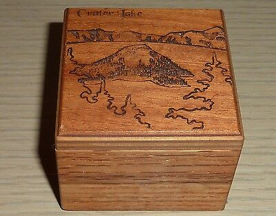 Small Wooden Souvenir Box from Crater Lake ~ Round Mountain Woodworks