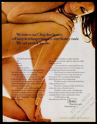 1970 Sears Cling-Alon pantyhose smiling woman color photo vintage print ad