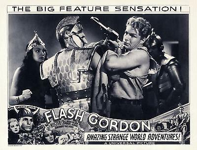 BUSTER CRABBE As FLASH GORDON Fights With Soldier 11x14 LC Sepia Print 1936