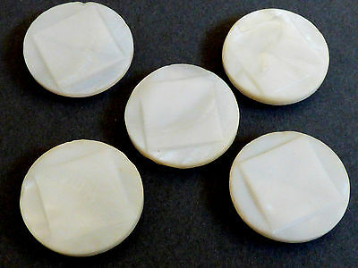 Vintage Antique lot of 5 White Mother of Pearl carved square buttons