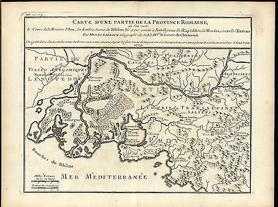 Mouth River Rhone Southern France Marseilles 1730 antique engraved map