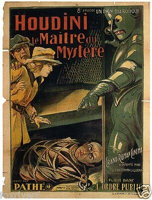 HARRY HOUDINI 'The Master Mystery' 1920 Film Window Poster - Robot - reprint