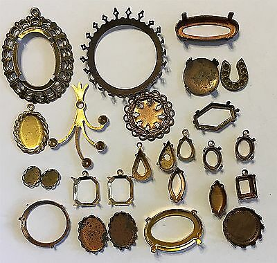 Vintage Lot #dm   Brass Mountings Settings 25 Piece Group