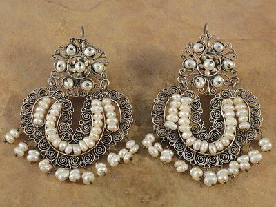 BIG Mexican Mexico Sterling Silver & Pearl Frida Earrings