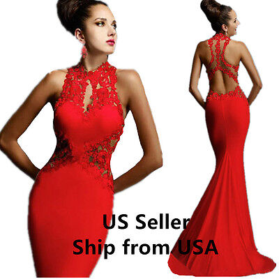Womens Evening Dress Mermaid Lace ball gown coaktail formal Prom RED Size 10