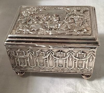 Signed European Repouse Silverplate  & Wood Box