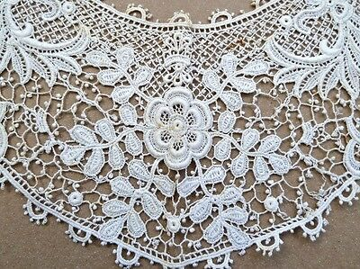 Antique Lace Collar Scoop Neckline Edwardian Dress Picot Edge