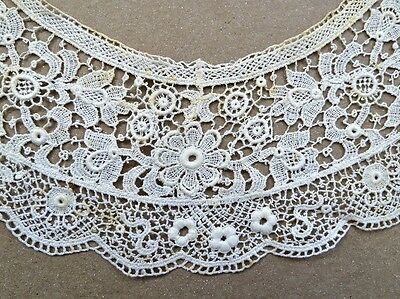 Antique Lace Collar Round-Scoop Neckline Edwardian Dress Scalloped Edge