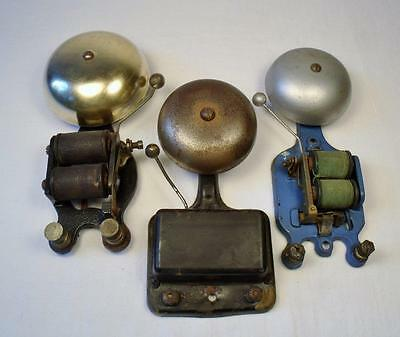 Lot of three electric door bells brass cast iron alarm