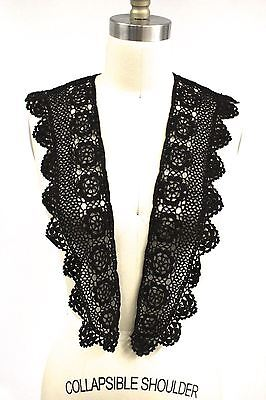"Antique Black Crochet Lace Collar 44"" Excellent Condition Victorian Trim"
