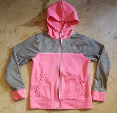 girls THE NORTH FACE pink gray zip up long sleeve jacket size L