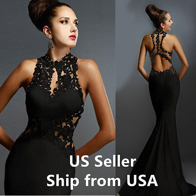 Womens Evening Dress Mermaid Lace ball gown coaktail formal Prom BLACK Size 12