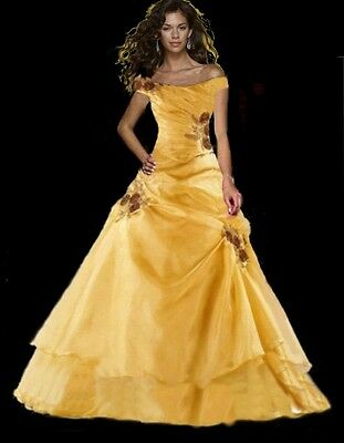 Evening dress prom womens bridesmaid wedding dress formal gown size 10 yellow