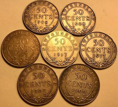 Newfoundland - Lot of (7) Silver Half Dollars - Edward VII & George V