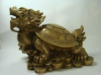 lucky Old famous Bronze Fengshui Dragon Turtle Statue
