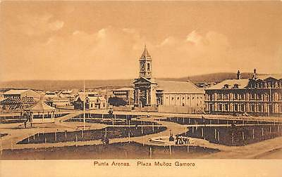 PUNTA ARENAS, CHILE ~ PLAZA MUNOZ GAMERO & CHURCH OVERVIEW ~ c. 1904-14