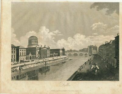 City view of Dublin Ireland nice 1811 old vintage engraved print