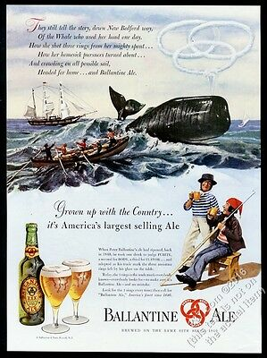 1947 New Bedford whaling boat whale art Ballantine Ale vintage print ad