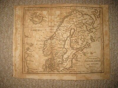 Antique 1809 Sweden Denmark Norway Finland Iceland Copperplate Map Superb Rare