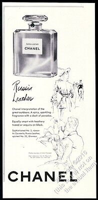 1941 Chanel Russia Leather perfume classic bottle pic vintage print ad