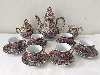 Vintage Chinese Hand Painted 22K Gilded Gold Floral Chintz 17 Piece Tea Set