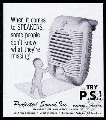 1967 Projected Sound drive-in movie theatre in-car speaker photo trade print ad