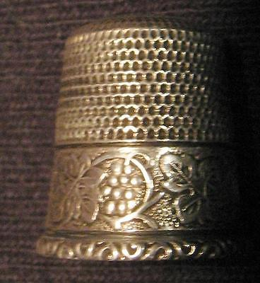 Antique Simons Sterling Thimble-Grape And Leaves Pattern Size 10 Very Nice